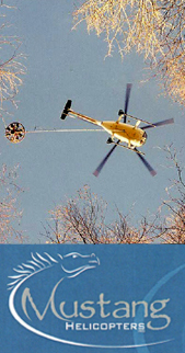 One of Mustang's helicopters doing seismic loadwork