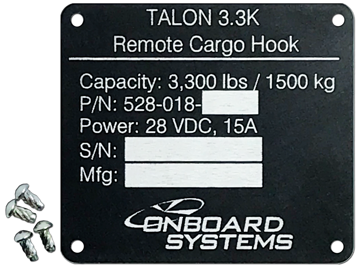 Serial Plate Conversion Kit for TALON 3K Remote Cargo Hooks (P/N 200-444-00)